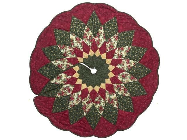 Red Green and Gold Dahlia Star Christmas Tree Skirt Photo 1
