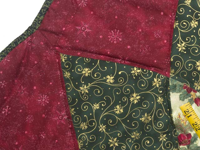 Red Green and Gold Dahlia Star Christmas Tree Skirt Photo 4