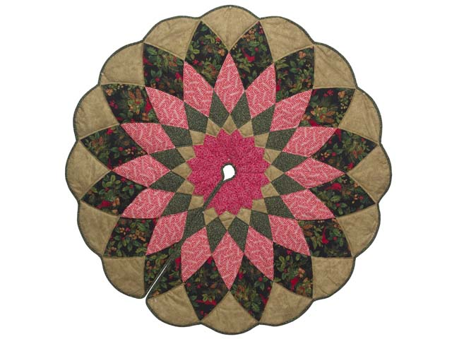 Gold Green and Red Dahlia Star Christmas Tree Skirt Photo 1