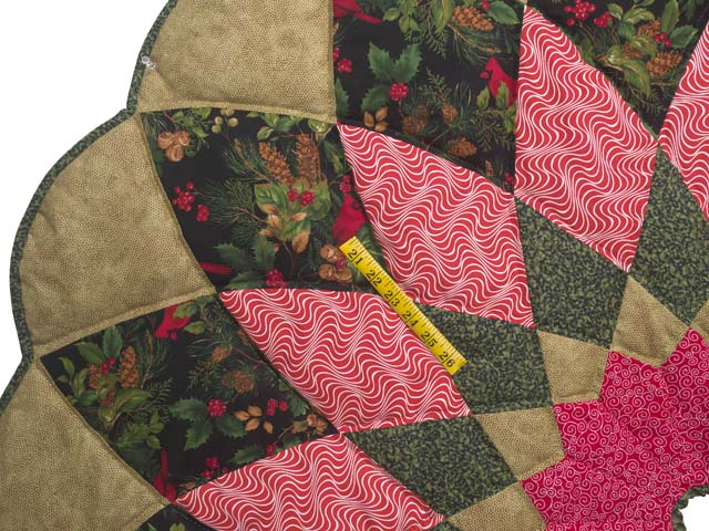 Gold Green and Red Dahlia Star Christmas Tree Skirt Photo 3