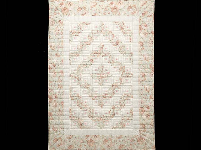 Peach Green and Cream Log Cabin Crib Quilt Photo 1