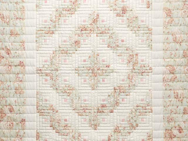 Peach Green and Cream Log Cabin Crib Quilt Photo 2