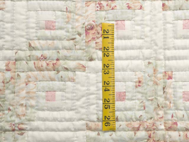 Peach Green and Cream Log Cabin Crib Quilt Photo 3