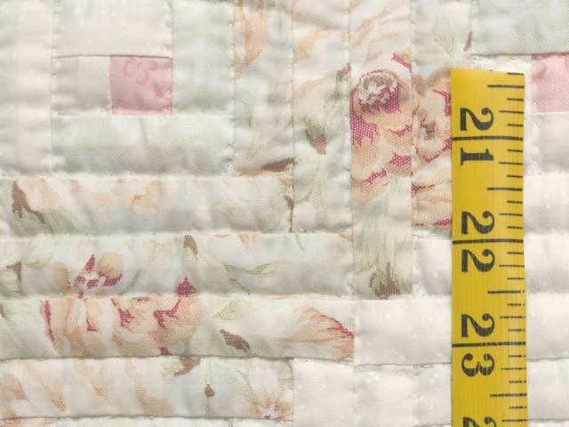 Peach Green and Cream Log Cabin Crib Quilt Photo 4
