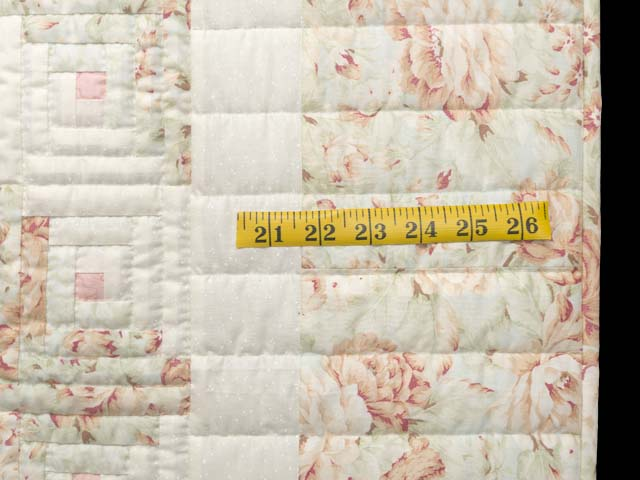 Peach Green and Cream Log Cabin Crib Quilt Photo 6
