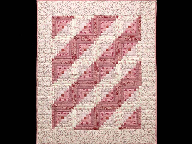 Raspberry Pink and Cream Log Cabin Crib Quilt Photo 1