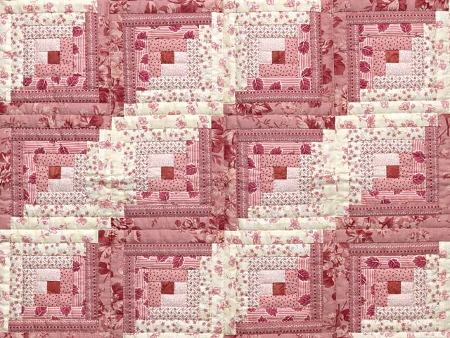Raspberry Pink and Cream Log Cabin Crib Quilt Photo 2