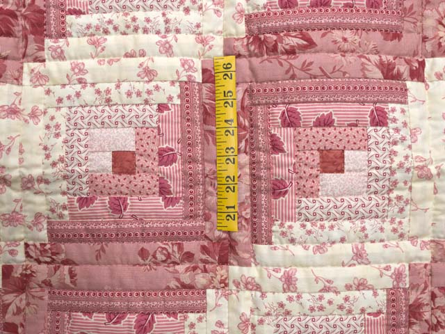 Raspberry Pink and Cream Log Cabin Crib Quilt Photo 3