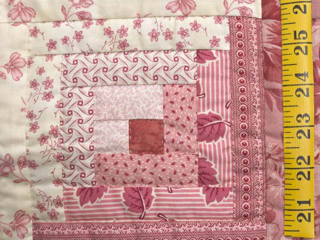 Raspberry Pink and Cream Log Cabin Crib Quilt Photo 4