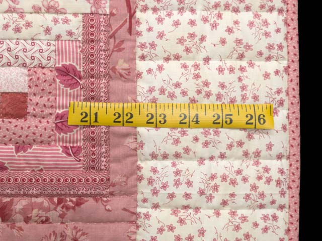 Raspberry Pink and Cream Log Cabin Crib Quilt Photo 5