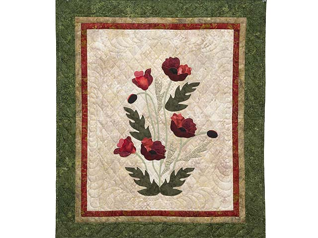 Moss Green and Red Poppy Fields Wall Hanging Photo 1
