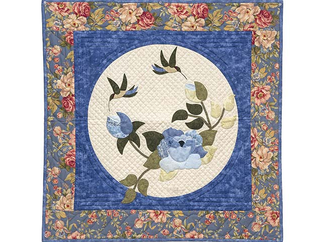 Blue and Coral Rose Garden Wall Hanging Photo 1