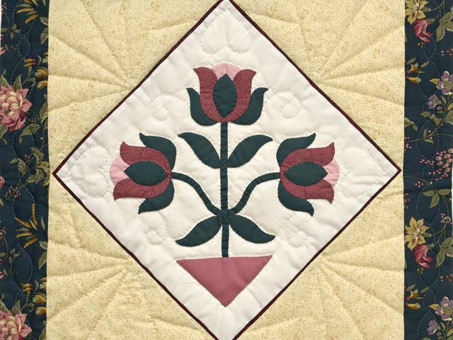 Dark Green Burgundy and Tan Tulip Medley Wall Hanging Photo 2