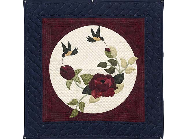 Navy and Burgundy Rose Garden Wall Hanging Photo 1