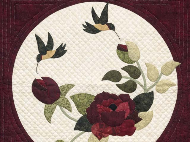 Navy and Burgundy Rose Garden Wall Hanging Photo 2