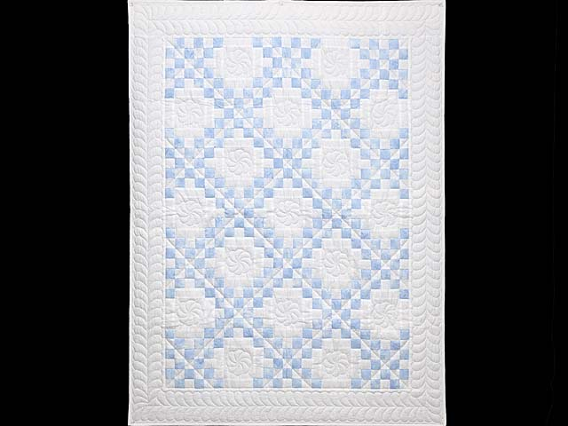 Pastel Blue and Cream Irish Chain Crib Quilt Photo 1