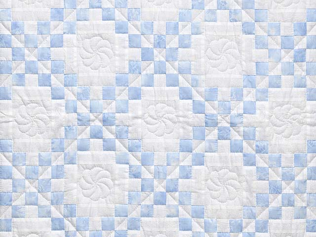 Pastel Blue and Cream Irish Chain Crib Quilt Photo 2