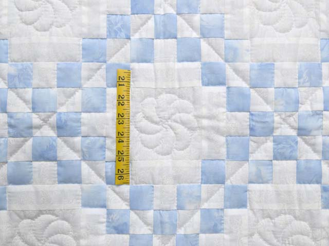 Pastel Blue and Cream Irish Chain Crib Quilt Photo 3