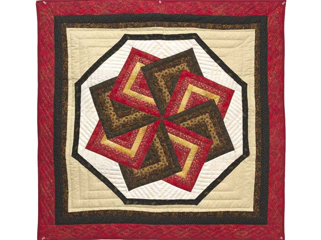 Red Brown and Gold Star Spin Wall Hanging Photo 1