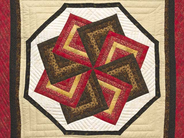 Red Brown and Gold Star Spin Wall Hanging Photo 2