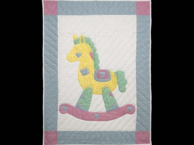 Pastel Blue and Pink Rocking Horse Crib Quilt Photo 1