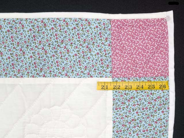 Pastel Blue and Pink Rocking Horse Crib Quilt Photo 5