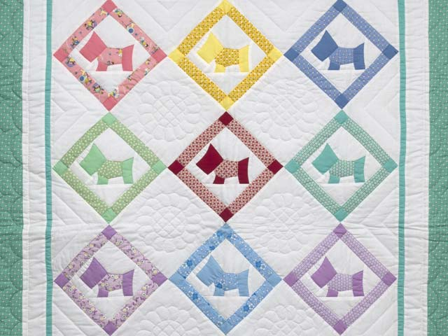 Green and Pastels Scotties Crib Quilt Photo 2