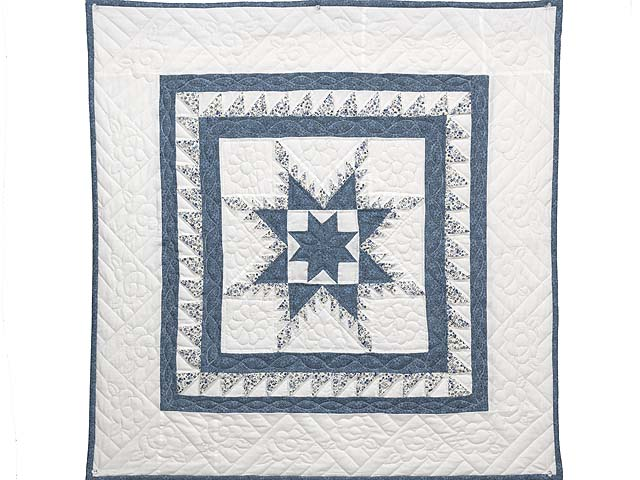 Blue and Cream Feathered Edge Star Wall Hanging Photo 1