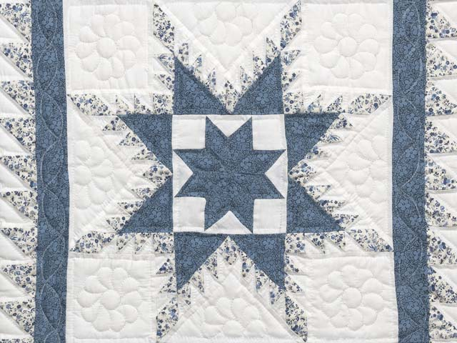 Blue and Cream Feathered Edge Star Wall Hanging Photo 2
