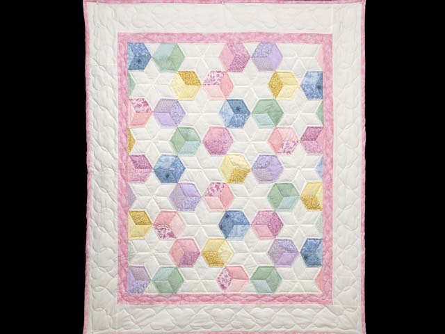 Pink and Pastels Tumbling Blocks Crib Quilt Photo 1