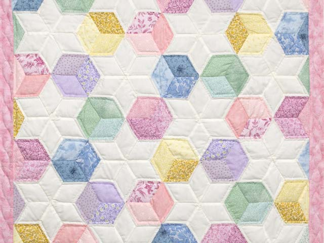Pink and Pastels Tumbling Blocks Crib Quilt Photo 2