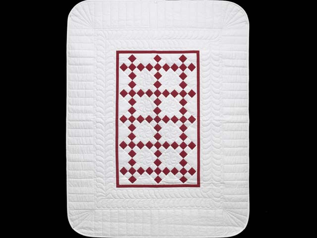 Crimson and Cream White Nine Patch Crib Quilt Photo 1