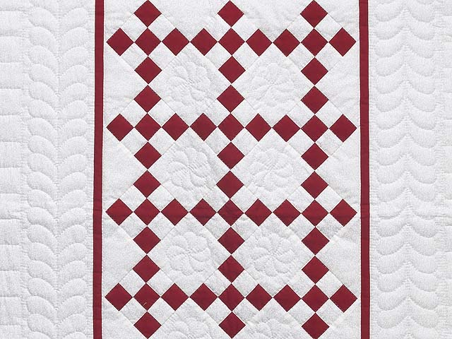 Crimson and Cream White Nine Patch Crib Quilt Photo 2