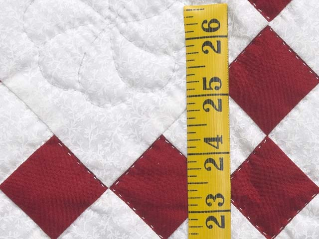 Crimson and Cream White Nine Patch Crib Quilt Photo 4