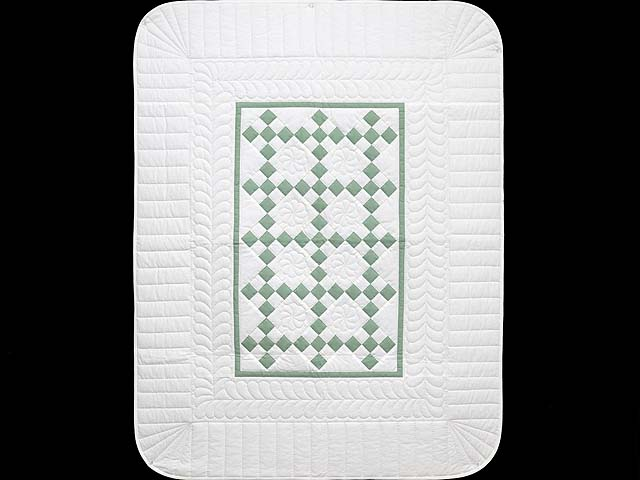 Green and Cream Nine Patch Crib Quilt Photo 1