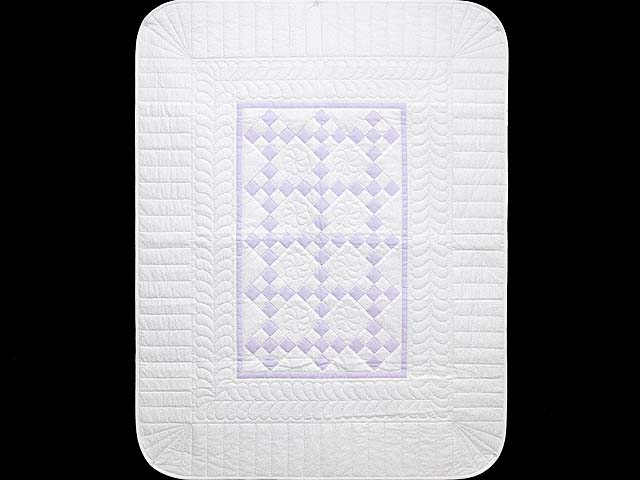 Lilac and Cream Nine Patch Crib Quilt Photo 1