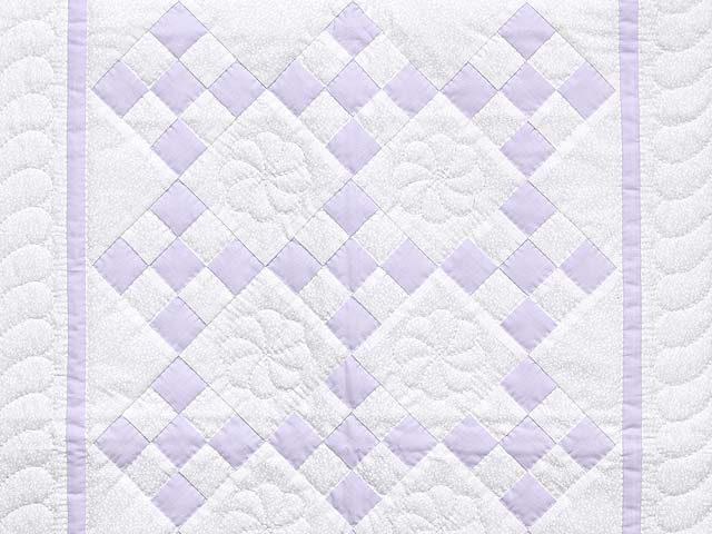 Lilac and Cream Nine Patch Crib Quilt Photo 2