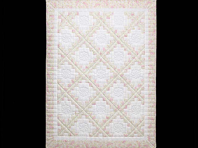 Floral Pink Willow Green and Cream Irish Chain Crib Quilt Photo 1