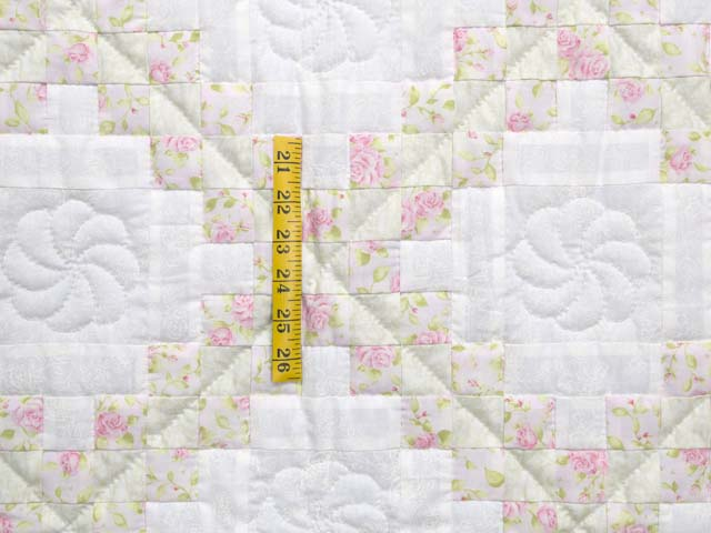 Floral Pink Willow Green and Cream Irish Chain Crib Quilt Photo 3