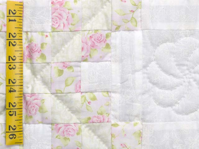 Floral Pink Willow Green and Cream Irish Chain Crib Quilt Photo 4