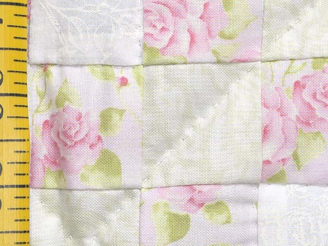 Floral Pink Willow Green and Cream Irish Chain Crib Quilt Photo 5