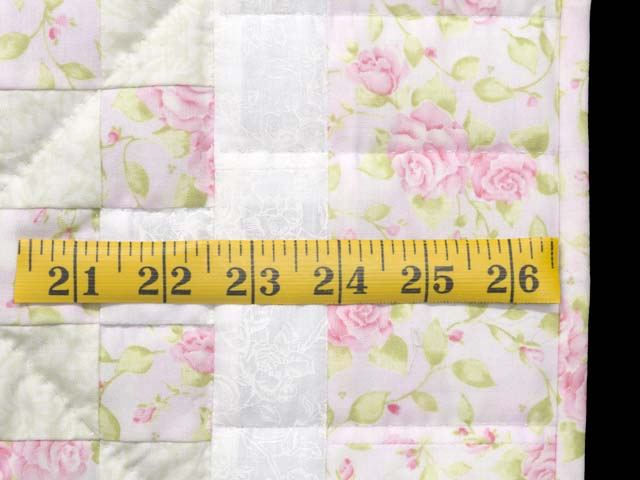 Floral Pink Willow Green and Cream Irish Chain Crib Quilt Photo 6