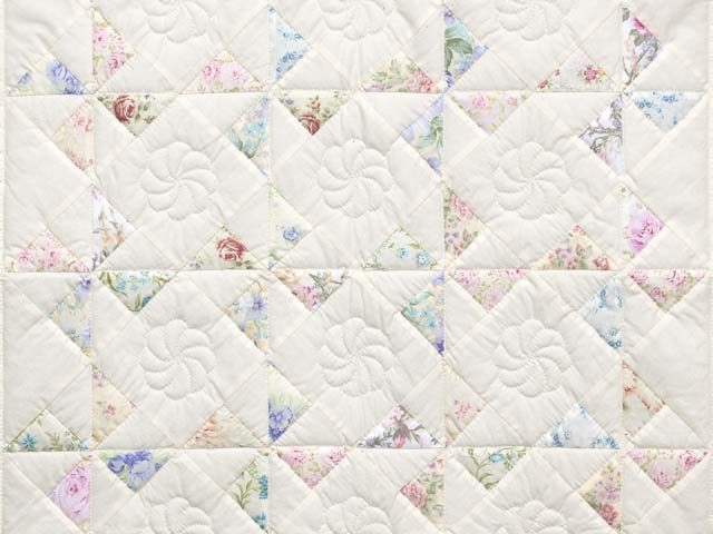 Floral Pastels and Cream Pinwheel Crib Quilt Photo 2