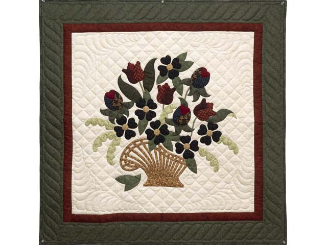 Green and Burgundy Spring Basket Wall Hanging Photo 1