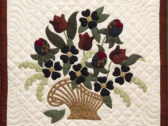 Green and Burgundy Spring Basket Wall Hanging Photo 2