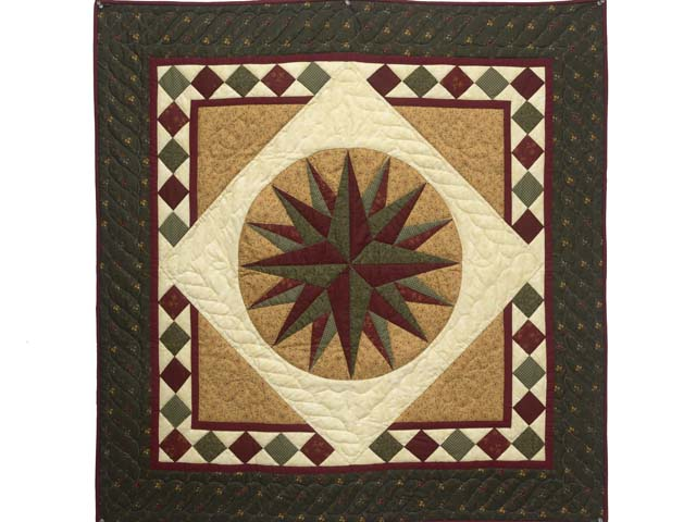 Dark Green and Burgundy Compass Star Wall Hanging Photo 1