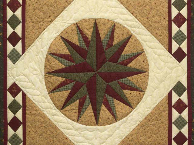 Dark Green and Burgundy Compass Star Wall Hanging Photo 2