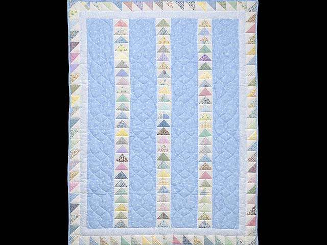 Pastel Blue and Multicolor  Flying Geese Crib Quilt Photo 1