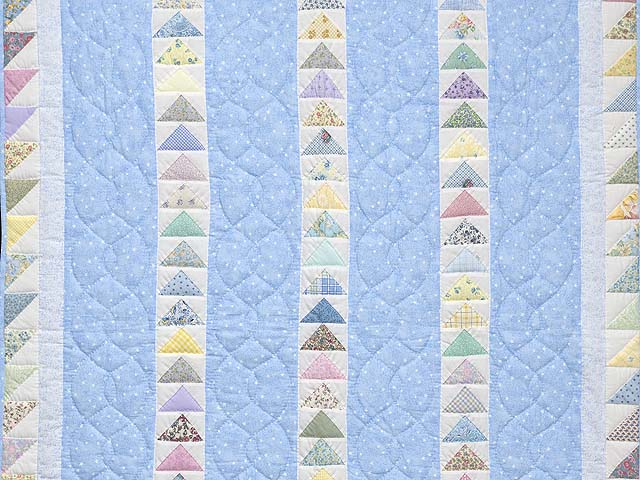 Pastel Blue and Multicolor  Flying Geese Crib Quilt Photo 2