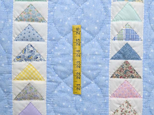 Pastel Blue and Multicolor  Flying Geese Crib Quilt Photo 3